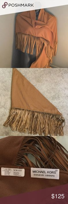 Michael Kors  Wool & Leather Shawl Michael Kors for Bergdorf Goodman, Brown Wool and Leather Fringed Shawl, 80% Wool, 20% Cashmere, picture four show small hole, you would have to hold the shawl up to the light to see, not noticeable, gently worn Michael Kors Accessories Scarves & Wraps