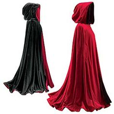 Death Cloak Costume -color scheme, red/burgundy exterior, Black interior