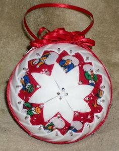 Grandmother's Quilt ~ Christmas 7 ~~ Handcrafted Fabric Ornament