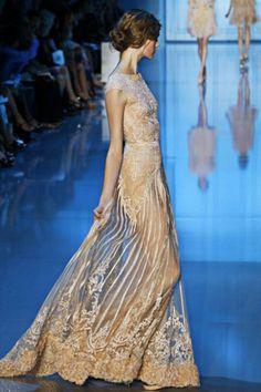 badgley mischka beige romantic sheer embroidered gown.