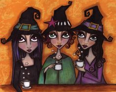 The Witch's Tea Party   8 x 10 inch Signed Print by darkfaerie, $20.00