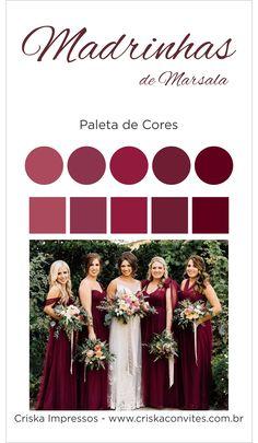 Modelo Paleta Madrinhas Marsala in 2020 Burgundy Wedding Colors, Lilac Wedding, Dream Wedding, Bridesmaid Dress Colors, Wedding Bridesmaid Dresses, Wedding Bouquets, Wedding Designs, Wedding Styles, Theme Color