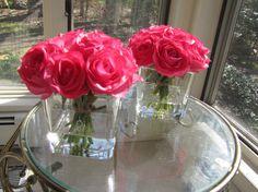 Beautiful Silk Flower Arrangement bright pink rose by FlowerIsland