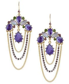 Betsey Johnson Earrings, Antique Gold-Tone Carved Flower Chandelier Earrings - Fashion Jewelry - Jewelry & Watches - Macy's