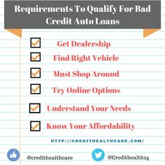 Requirements for  Getting A Car Loan With Bad Credit  #badcredit #autoloan, #carloan, auto loan, bad credit, bad credit financing, auto insurance, car, auto, car buying bad credit auto loans