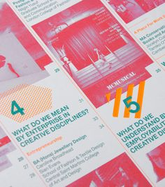 University of the Arts London. Bright and engaging style using geometric shapes to overlay image and text in a dynamic way. Love the contrast of the bright orange used with bright pink and green. Print Layout, Layout Design, Print Design, Green Colour Palette, Design Graphique, Book Layout, Graphic Design Studios, Company Profile, Design Agency