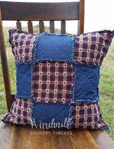 Items similar to Americana Rag Pillow Cover, Patriotic Patchwork, Denim Home Decor, Windmill Country Threads on Etsy Country Furniture, Country Decor, Farmhouse Decor, Quilting Projects, Sewing Projects, Antique Brass Faucet, Country Kitchen Flooring, Denim Decor, Memory Pillows