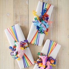 Dress up plain white paper with a rainbow of inexpensive curling ribbons.