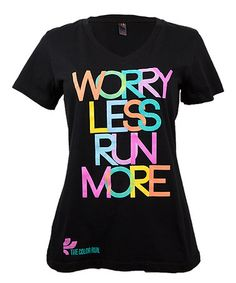 Black 'Worry Less Run More' V-Neck Tee - Plus Too #zulily #zulilyfinds