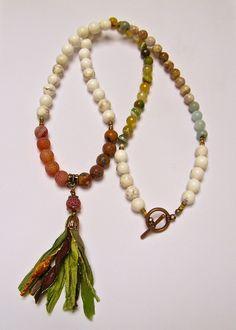 Collier sautoir rustique, pierre naturelle, jaspe, agates, amazonites, agates…
