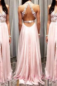 V-neck Pink Appliques Slit V-neck Prom Dress Maxi Dress Formal Dresses Red d04b2edf0