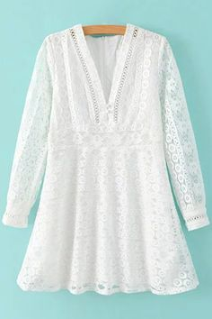 Shop White Long Sleeve V Neck Zipper Lace Dress online. SheIn offers White Long Sleeve V Neck Zipper Lace Dress & more to fit your fashionable needs. Lace A Line Dress, Floral Lace Dress, Lace Dress With Sleeves, Long Sleeve Mini Dress, White Long Sleeve, Boho Dress, Floral Dresses, White Mini Dress, White Lace