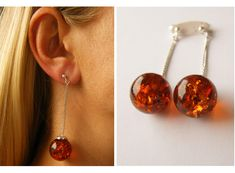 Amber Earrings, genuine Amber earrings, Ball cognac, sterling Silver 925,  amber earrings ,sun summer amber earrings,amber gift jewelry von JewellerWithSoul auf Etsy