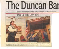 Local media coverage of Day of the Cowboy included this image in the newspaper of Myron Beeson of Apache, playing his handcrafted flute. He also sold a few pieces of his artwork, and Duane Paul, another flute maker, played music with him.
