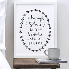 I've just found 'She Is Fierce' Print. A simple, bold and stylish typography print using a fantastic William Shakespeare quote, guaranteed to motivate and inspire!. £16.00