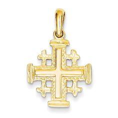 14k Gold Jerusalem Cross Silver Pendant