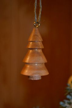 Solid Wood turned Christmas Tree Ornament by PoppyShopGirls, $10.00