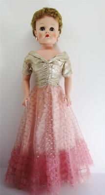 "1950's 30"" Darling Debbie Deluxe Reading Cinderella Gown Fashion Doll Gold Lame 