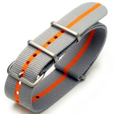"""http://pebblewatchbands.net/22mm-g10-nato-james-bond-heavy-nylon-strap-brushed-buckle-grey-orange-grey/ 22mm G10 Nato James Bond Watch Strap also named as """"Bond Strap"""". This is the same style of strips pattern watch band worn by James Bond on a Rolex Submariner (portrayed by Sean Connery). Nato James Bond Strap looks great on any military or military style watches. This NATO strap is made from straight woven thread nylon. 316L High Quality Stainl..."""