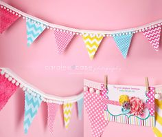 Pink, Aqua, and Yellow-PHOTO PROP SET-Fabric Banner and Headband-Bunting-Pennant-Garland-Birthday Party-Decoration-Rosette Headband. $42.00, via Etsy.