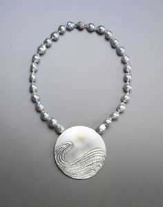Ladies White Tahitian Pearl necklace with Pendant by Wayne Victor Meeten