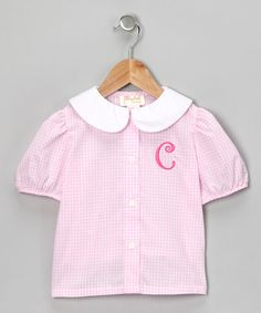 Take a look at this Pink Gingham Initial Blouse - Toddler & Girls on zulily today!