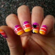 My latest manicure! #nails #nailart #tropical #fun #neon