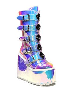 Rave Outfits Men, Edm Outfits, Crazy Outfits, Concert Outfits, Cosplay Outfits, Holographic Boots, Holographic Fashion, Rave Shoes, Bootie Boots