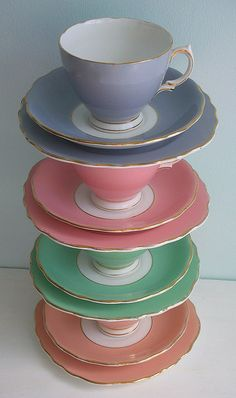 Love this Vintage Pastel Tea Set..