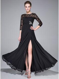 A-Line/Princess Scoop Neck Floor-Length Chiffon Evening Dress With Ruffle Beading Split Front