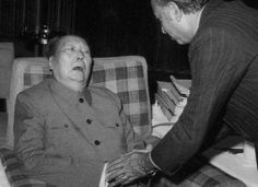 Mao Zedong's last public appearance on May 27, 1976, meeting Pakistani Prime Minister Zulfikar Ali Bhutto. His head resting against the back of the chair, possibly caused by Lou Gehrig's disease,...