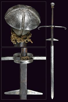 Two-handed Sword, Dated: 19th century Culture: European, Measurements: overall length 152cm.  Designed in the 16th century style, the sword has a straight, double-edged blade of lenticular section, long tang covered with leather and provided with triangular spikes.