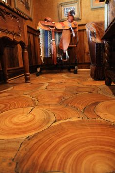 Wood rounds instead of plank flooring!