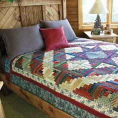 Woodsy Welcome by Maria Umhey. Check out the star formed by the block arrangement in the quilt center! Lone Star Quilt Pattern, Log Cabin Quilt Pattern, Star Quilt Patterns, Log Cabin Quilts, Star Quilts, Quilt Blocks, Star Blocks, Cute Quilts, Baby Quilts