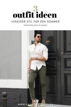 Casual Wear Outfit für Männer. Herrenoutfit mit Chinohose, Langarmhemd, und Sneaker. Ein Männeroutfit im lässigen Stil für den Frühling und Sommer. Trage dieses Outfit in der Freizeit oder im Urlaub. Erfahre welche Teile dazu passen!
