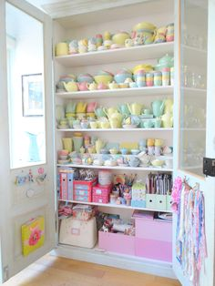 pastel vintage to store craft supplies rather than china