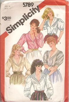 Vintage simplicity Sewing Pattern 5789 Misses Shawl Collar Blouse Size 14