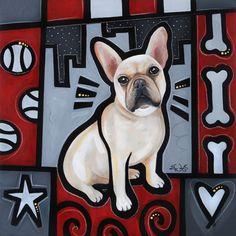 """""""French Bulldog Pop Art"""" canvas wall art by Eric Waugh, available in 6"""" x 6"""" tabletop canvas print up to 30"""" x 30"""" canvas wrap. See more sizing options and explore this entire Pop Art Dogs Collection at CanvasOnDemand.com."""