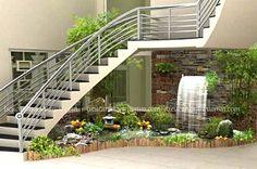 Thi công trọn gói tiểu cảnh cầu thang nước đẹp trong nhà, thi cong tron goi tieu canh cau thang nuoc trong nha, tiểu cảnh cầu thang, tieu canh cau thang dep, tiểu cảnh sân vườn, tieu canh san vuon Home Stairs Design, Interior Stairs, Home Room Design, Modern House Design, Small Garden Under Stairs, Indoor Garden, Indoor Plants, Stair Decor, Pond Design