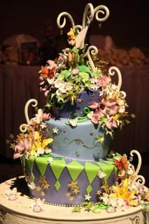 disney fairytale weddings cake, mad hatter style, tinkerbelle theme