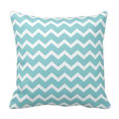 Two sides of Aqua Chevron Throw Pillows