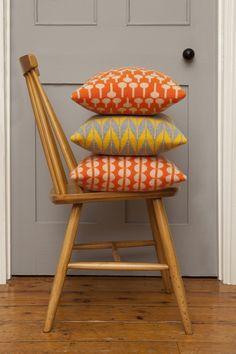 knitted cushions orange