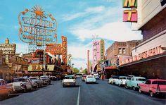 theniftyfifties:    Fremont Street, Las Vegas, 1950s.