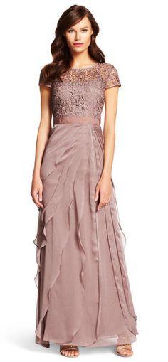 Adrianna Papell | Flutter Chiffon Gown