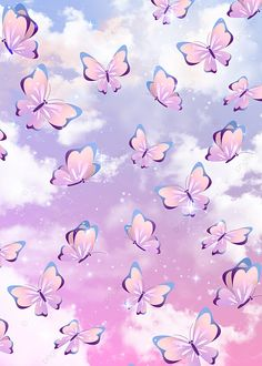 Waste Pink Butterfly Light Effect Colorful Butterfly Background