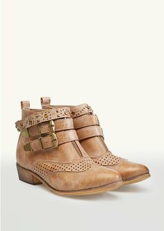 Perforated Cowgirl Booties on Wanelo