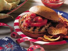 Take a break from traditional burgers. Lots of spicy chiles, Monterey Jack cheese and salsa mix with ground turkey breast for burgers to serve to a crowd.