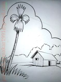 Simple scenery painting with black glass marking for kids by Pankaj Karmakar Landscape Drawing For Kids, Scenery Drawing For Kids, Easy Drawings For Kids, Nature Drawing, Landscape Drawings, Still Life Pencil Shading, Scenery Drawing Pencil, Doodle Art For Beginners, Easy Doodle Art