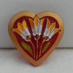 Red Heart Czech Glass Button by MostlyButtons on Etsy, $5.00