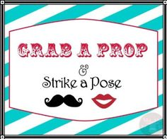 Amazon.com: Photo Booth Props - Photo Booth Sign - Grab a Prop - Vintage Carnival Colors: Health & Personal Care